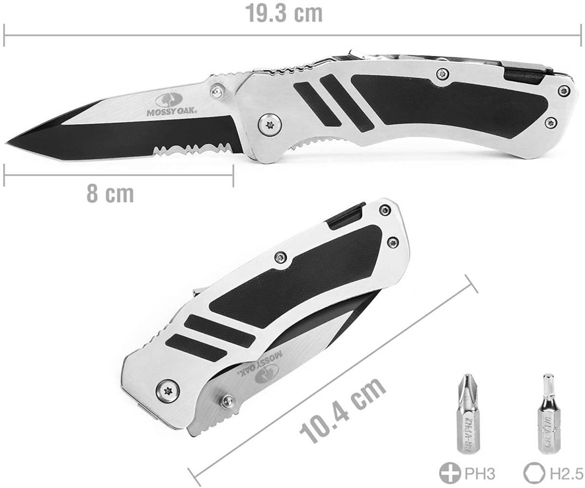 【新品 送料無料】MOSSY OAK 折りたたみナイフ フォールディングナイフ ドライバービット付 PH3&T2.5 磁気付き 黒染め加工ブレード