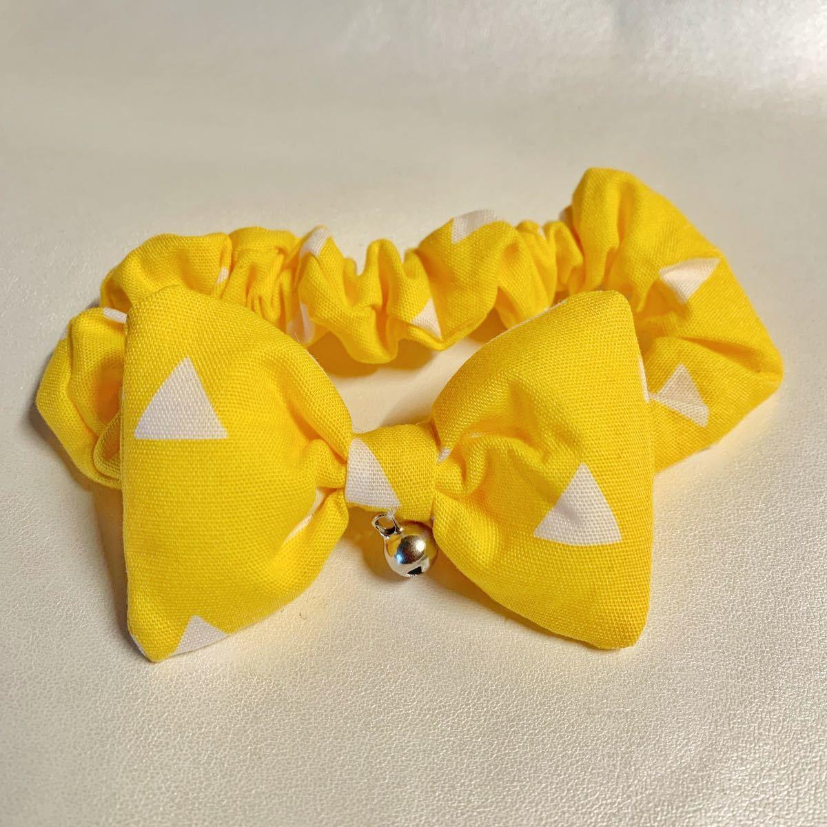 猫用 首輪 シュシュ   三角黄色