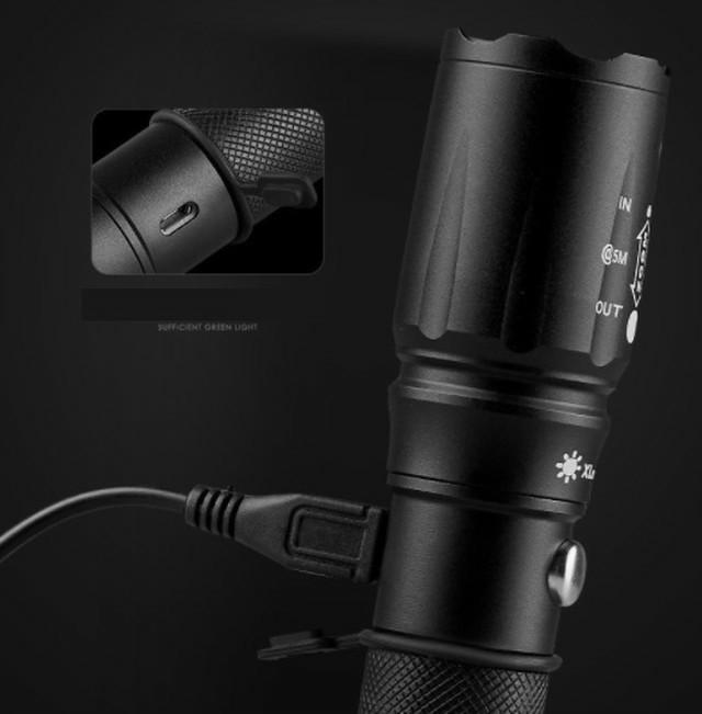 USBケーブルとリチウム電池付き 懐中電灯 led 強力USB充電式充電 防水