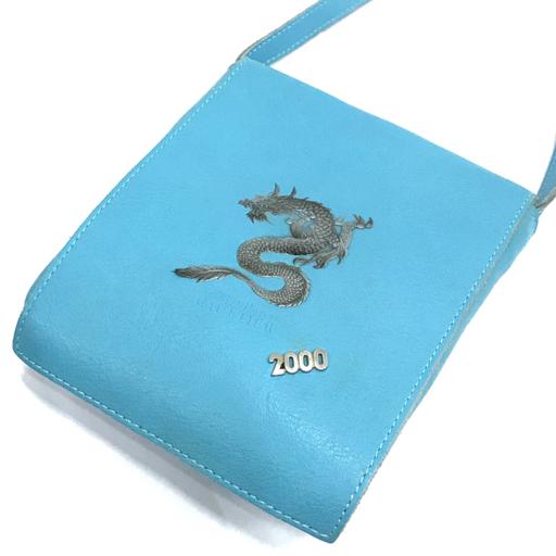 ジャンポールゴルチェ 斜めがけ ショルダーバッグ ポシェット ドラゴン 龍 2000 マグ開閉 レザー ブルー 青