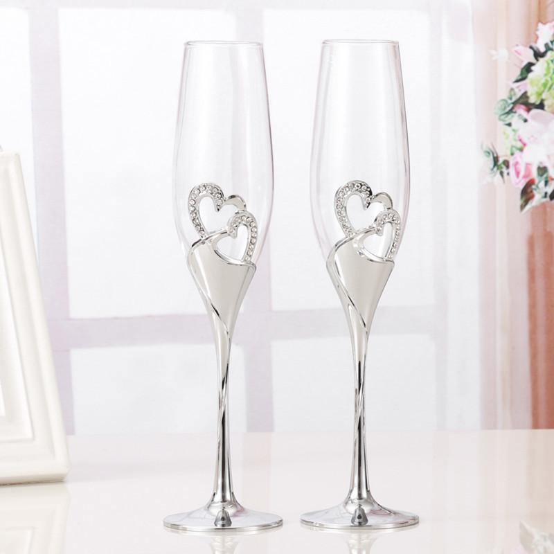 おうちで乾杯☆シャンパングラス2ピース フルート ワイン ギフト プレゼント 結婚 記念日 おしゃれ ハート ラインストーン シルバー DD352_画像4