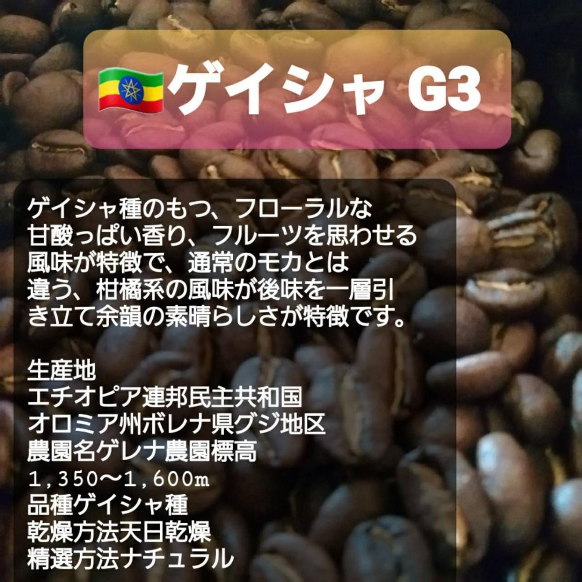 自家焙煎屋 コーヒー豆 エチオピアゲイシャG3   600g