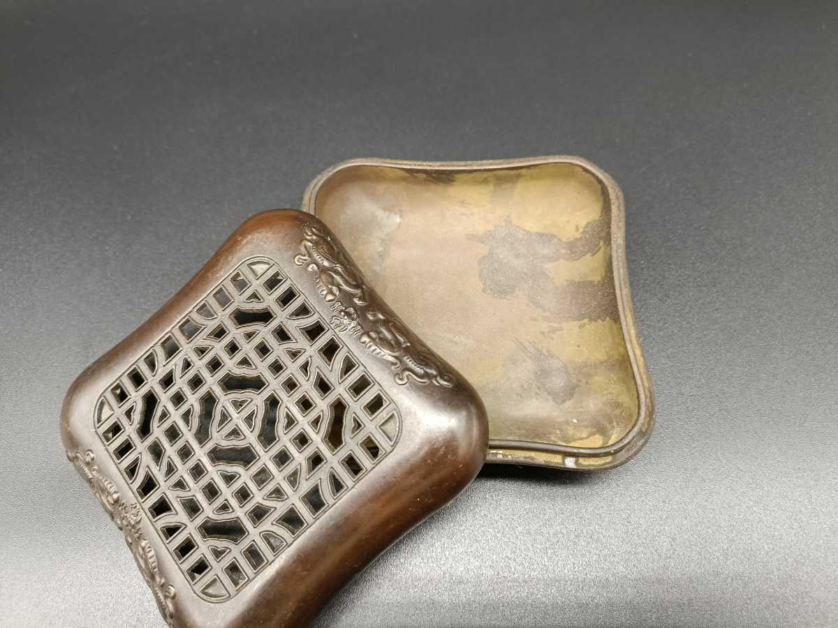 銅製置物 香炉 金工 細工 インテリア置物 獅子紋 _画像5