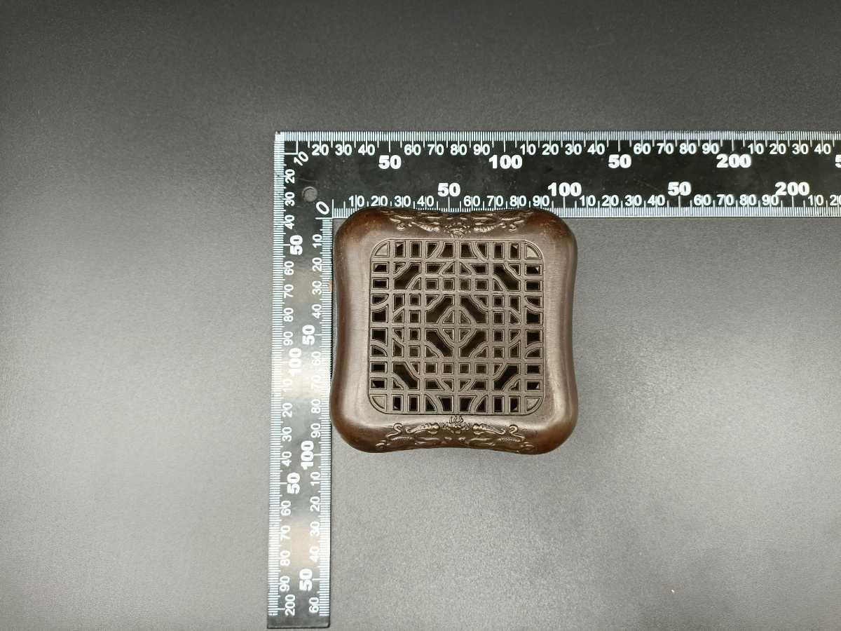 銅製置物 香炉 金工 細工 インテリア置物 獅子紋 _画像7