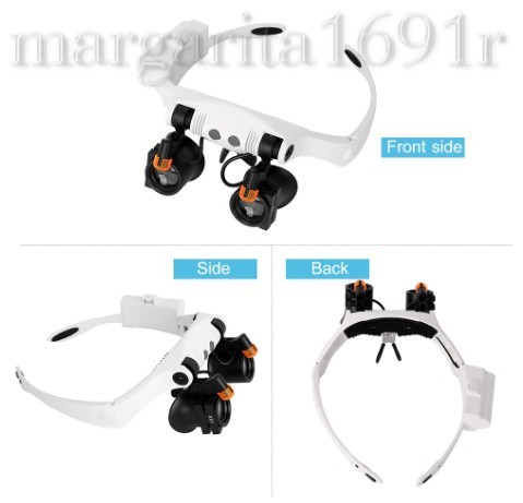 LED light lighting attaching magnifying glass head band I magnifier glasses type *6.. exchange lens attaching * clock repair reading machine processing electron repair a259