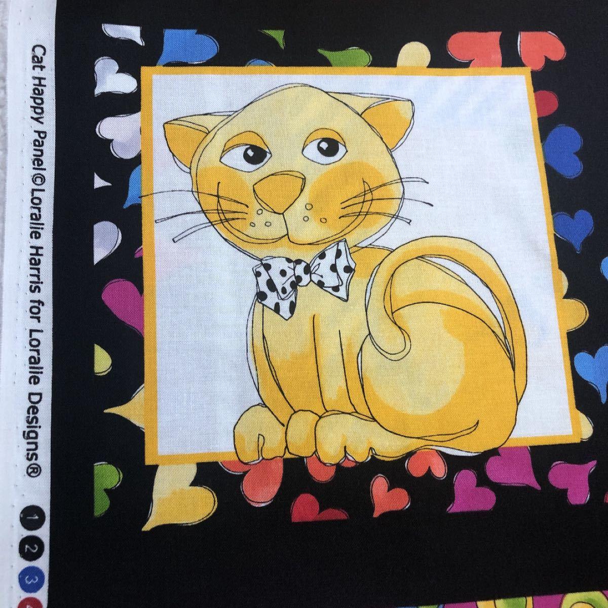 ロラライハリス Cat Happy パネル生地 黒