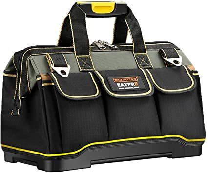 34.5x20.5x22CM YZL ツールバッグ 工具袋 ショルダー ベルト付 肩掛け 手提げ 大口収納 差し入れ 底部特化 _画像1
