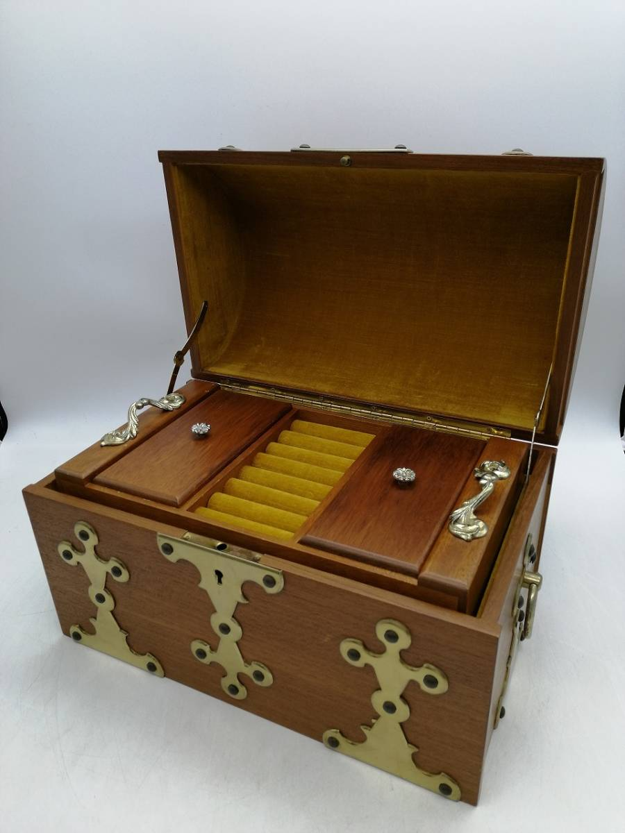 h2363 アクセサリーケース ジュエリーボックス 宝箱 トレジャーボックス 宝石箱 現状品_画像1