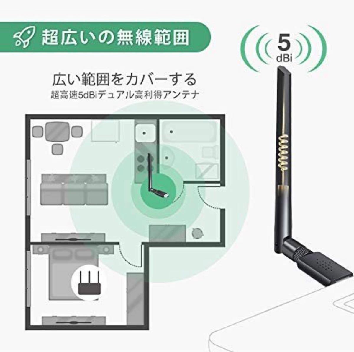【新品】Wi-Fi無線LAN 子機 1200Mbps 放熱デザイン 高速度 5dBi用 デュアルタイプ