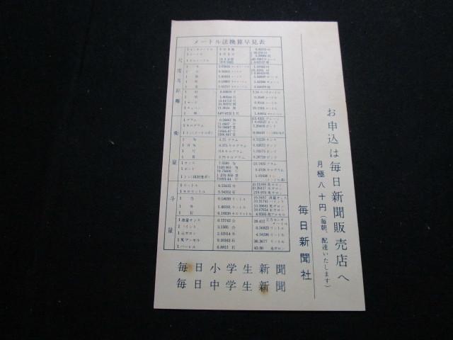 昭和レトロ 昭和30年代のチラシ 「毎日新聞」当時もの_画像2