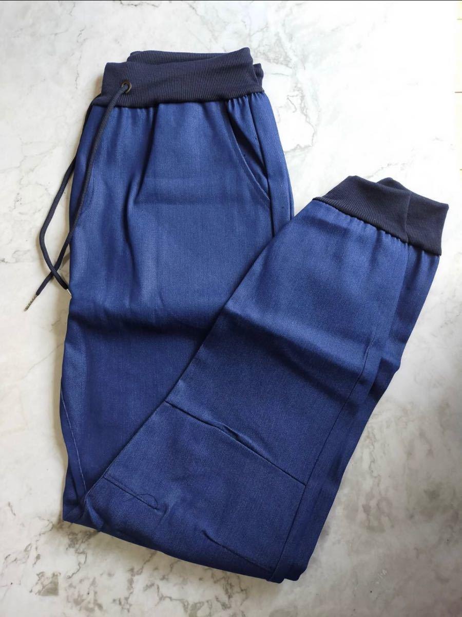 ジョガーパンツ デニム調スキニー ジーンズ メンズ ブルー 青 ブルー XL