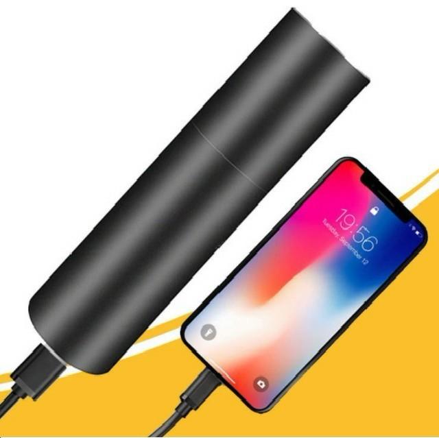 ケーブル付 懐中電灯 led 強力 USB充電式 防水 携帯 防災 黒