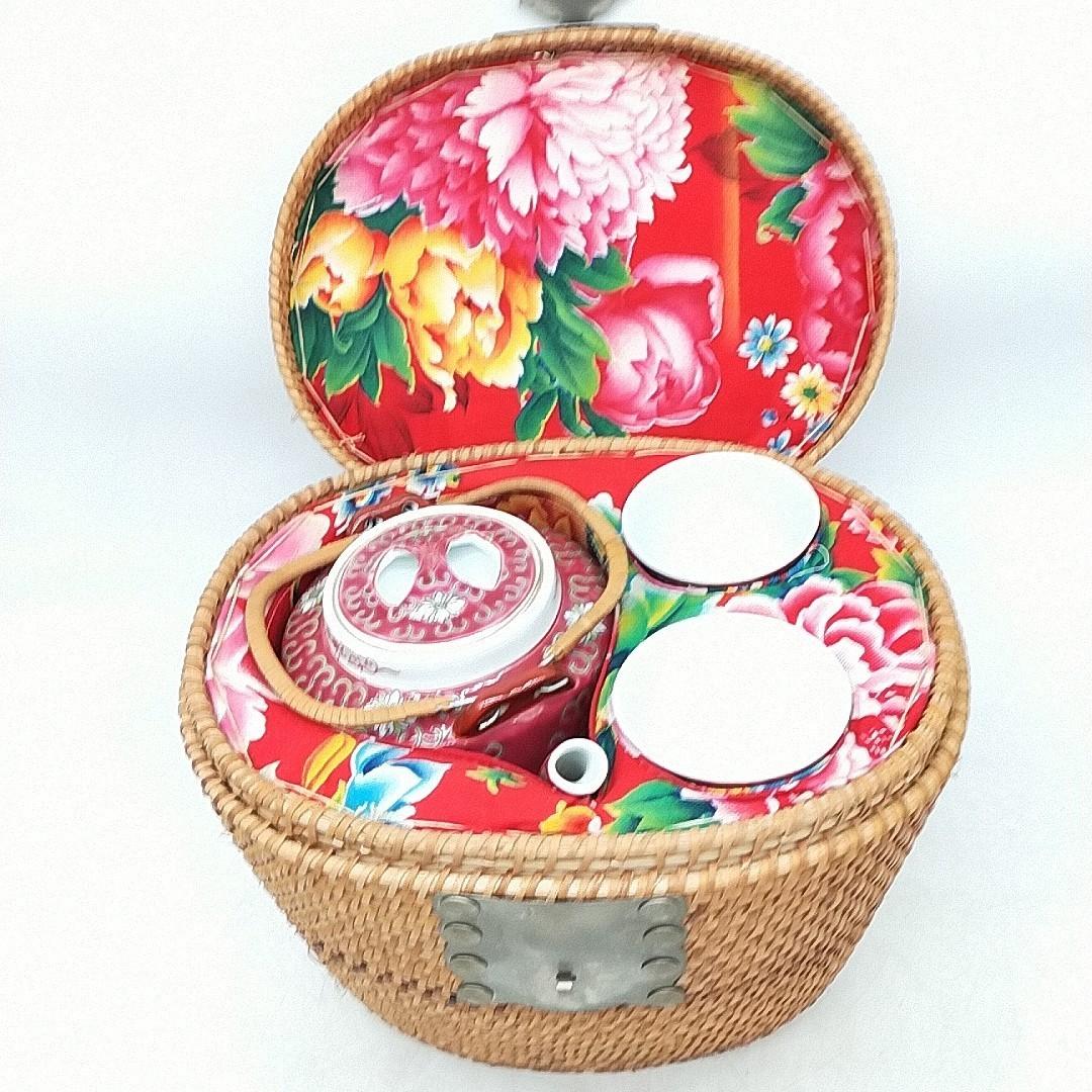 e182 中国 景徳鎮 茶器セット バスケット入り 煎茶道具 茶器 中古
