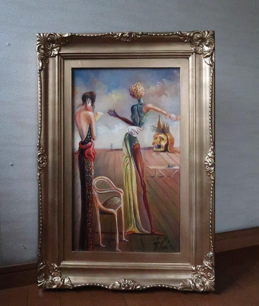 【サルバドール・ダリ】バラの頭の女! 直筆肉筆油彩画 ダリ美術館 オルセー美術館 模写 ゴッホ バンクシー ピカソ シャガール