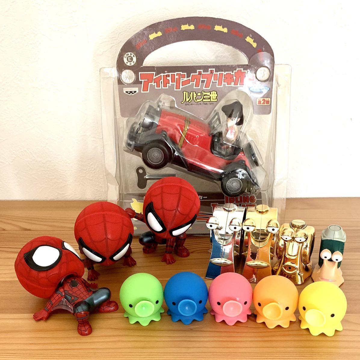 スパイダーマン ワンピース でんでん虫 ルパン三世 峰不二子 タコ フィギュア おもちゃ_画像1