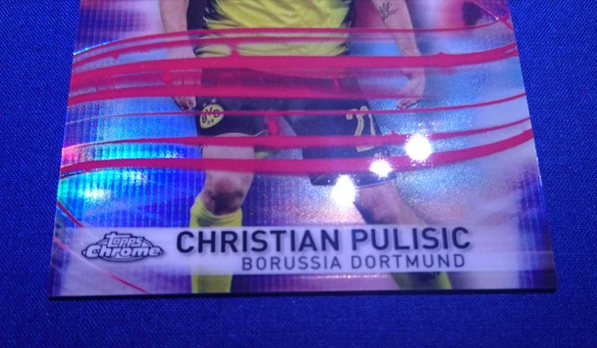 10/10!!【CHRISTIAN PULISIC/DORTMUND】2017-18 Topps Chrome UEFA Champions League LIGHTNING STRIKE RED REFRACTOR USA JSY NO 2018_画像8