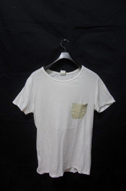 イタリア製 ジョルジオブラット 極上レザー部分使い半袖Tシャツ /サイズM 本革 羊革 シープラムスキン WLG 白 胸ポケ Leather