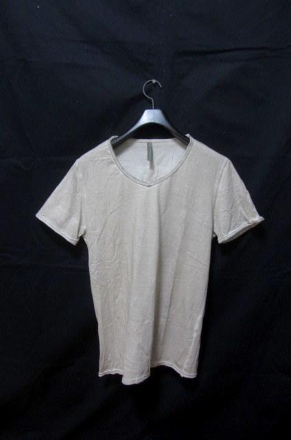 イタリア製 ジョルジオブラット 極上レザー部分使い半袖Tシャツ /サイズM 本革 羊革 シープラムスキン WLG ベージュ 伊 Leather