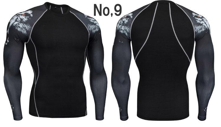 コンプレッションウエア No,9 Lサイズ メンズ 加圧インナー アンダーシャツ トレーニングウエア スポーツウエア 長袖 吸汗 速乾 p20