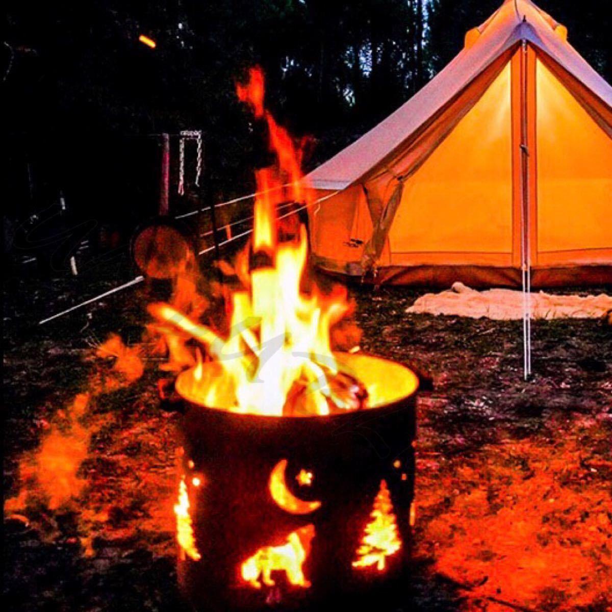 焚き火台 アウトドア アイアン ドラム型 焚火台 キャンプ フォレストデザイン 焚き火 焚火 インスタ チルキャンプ