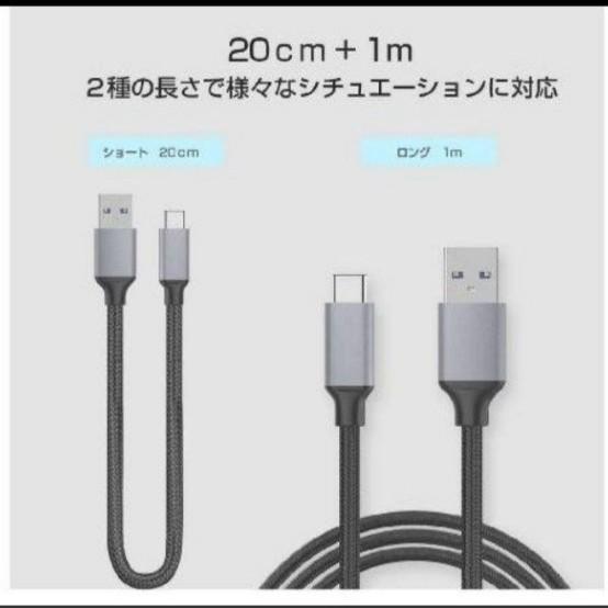 Type-Cケーブル 急速充電 出力2A 長短2本(20cm+100cm)