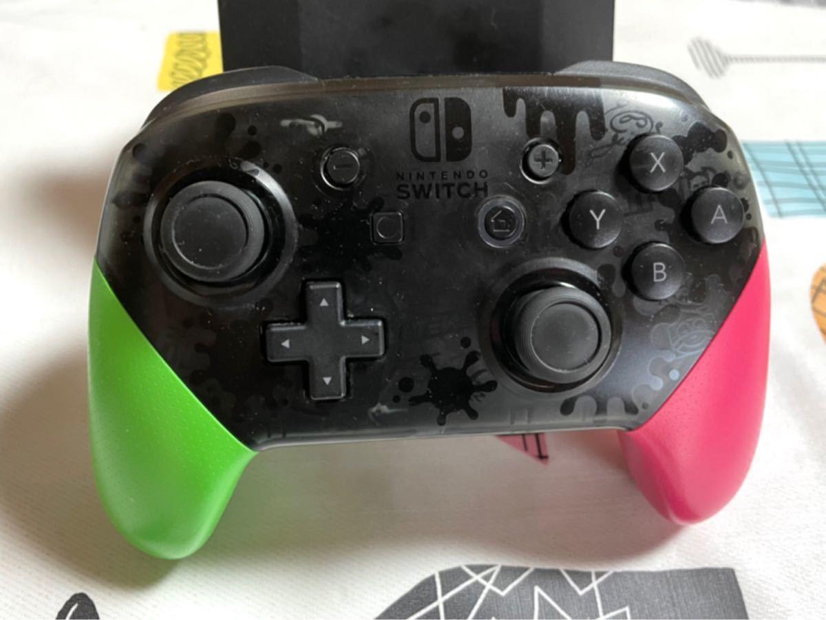 ☆任天堂 Nintendo Switch Proコントローラー プロコン スプラトゥーン2 純正 中古 動作確認済み 充電不良有り
