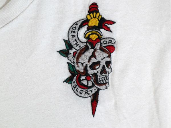 エドハーディー ED HARDY 半袖Tシャツ Mサイズ Vネック 刺繍 ホワイト 白 スカル/506251661_画像2