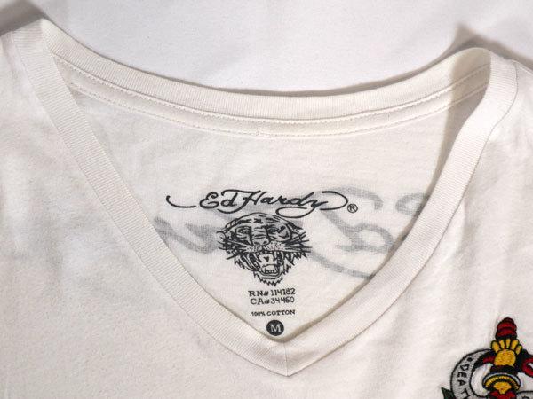 エドハーディー ED HARDY 半袖Tシャツ Mサイズ Vネック 刺繍 ホワイト 白 スカル/506251661_画像5