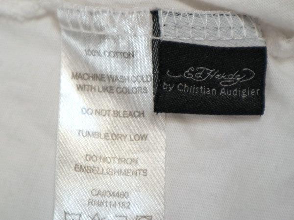 エドハーディー ED HARDY 半袖Tシャツ Mサイズ Vネック 刺繍 ホワイト 白 スカル/506251661_画像7