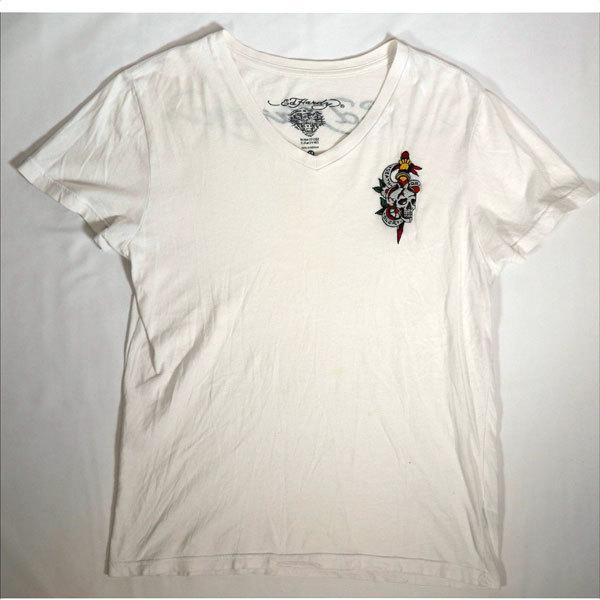 エドハーディー ED HARDY 半袖Tシャツ Mサイズ Vネック 刺繍 ホワイト 白 スカル/506251661_画像1