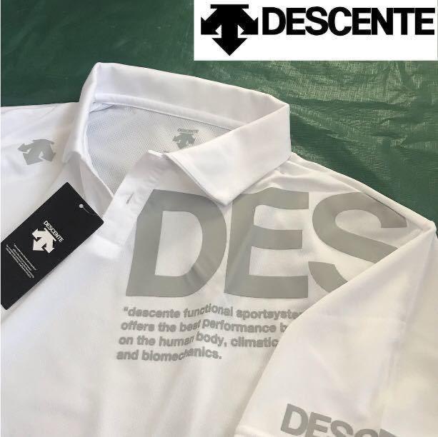 新品【メンズ XO(XXL)】白ホワイト DESCENTE デサントポロシャツBIGロゴ 吸汗さらさらDRY ゴルフ ランニング スポーツウエア