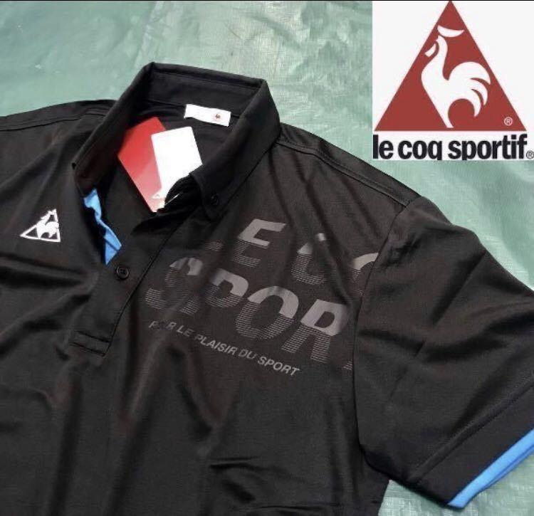 新品【メンズM 黒ブラック】le coq ルコック左胸BIGロゴゴルフトレーニング ポロシャツ 吸汗速乾機能QUICK-DRY 匿名配送 4_画像1