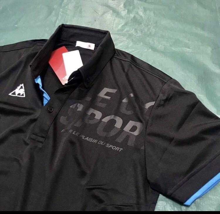新品【メンズM 黒ブラック】le coq ルコック左胸BIGロゴゴルフトレーニング ポロシャツ 吸汗速乾機能QUICK-DRY 匿名配送 4_画像6