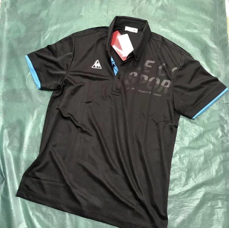 新品【メンズM 黒ブラック】le coq ルコック左胸BIGロゴゴルフトレーニング ポロシャツ 吸汗速乾機能QUICK-DRY 匿名配送 4_画像2