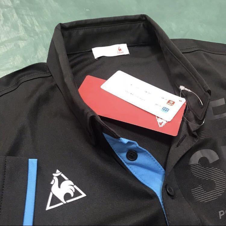 新品【メンズM 黒ブラック】le coq ルコック左胸BIGロゴゴルフトレーニング ポロシャツ 吸汗速乾機能QUICK-DRY 匿名配送 4_画像3