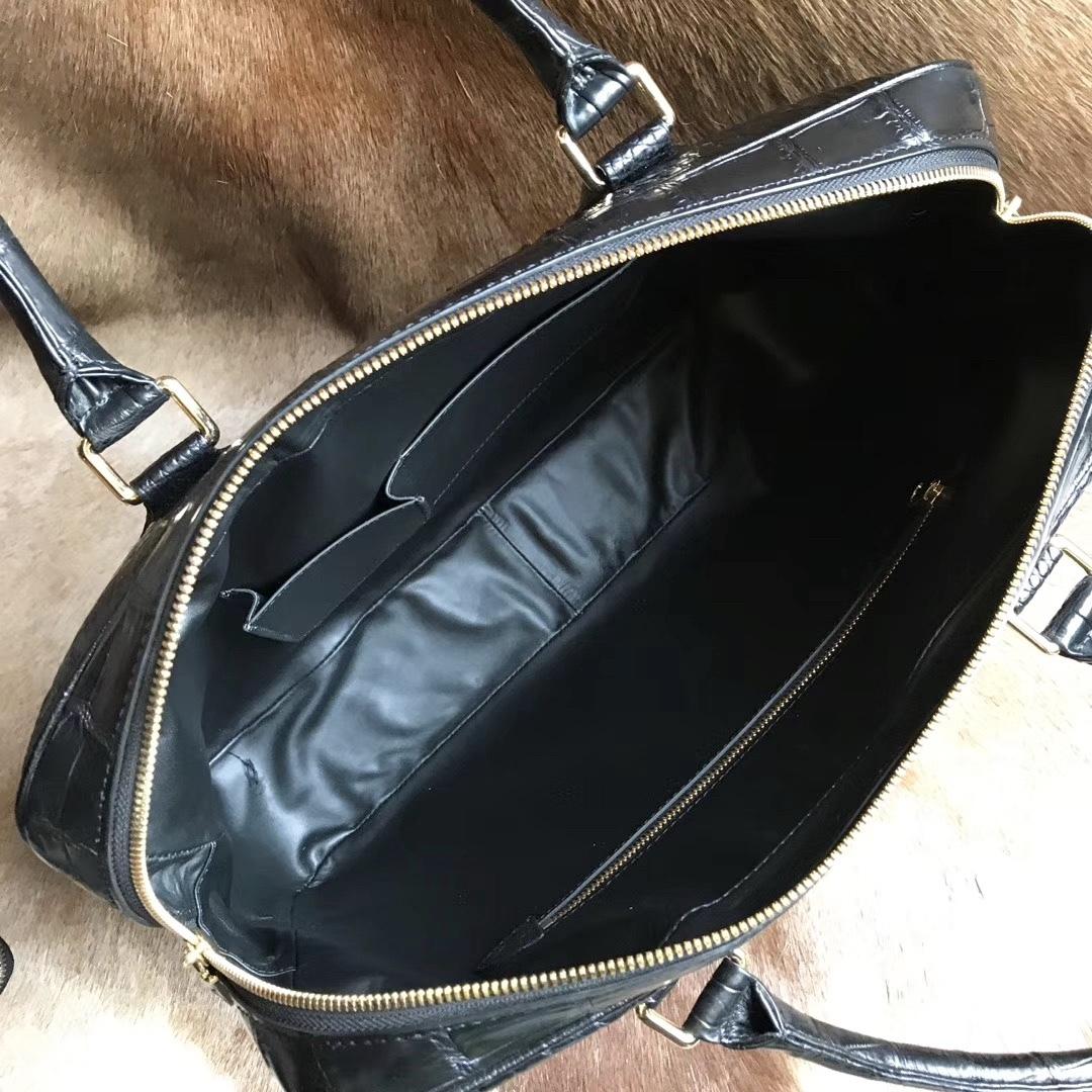 大容量 シャムクロコダイル ワニ革本物 多機能 A4書類対応 ビジネス 鞄 ブリーフケース 出張用 通勤 メンズ/ハンドバッグ 黒_画像5