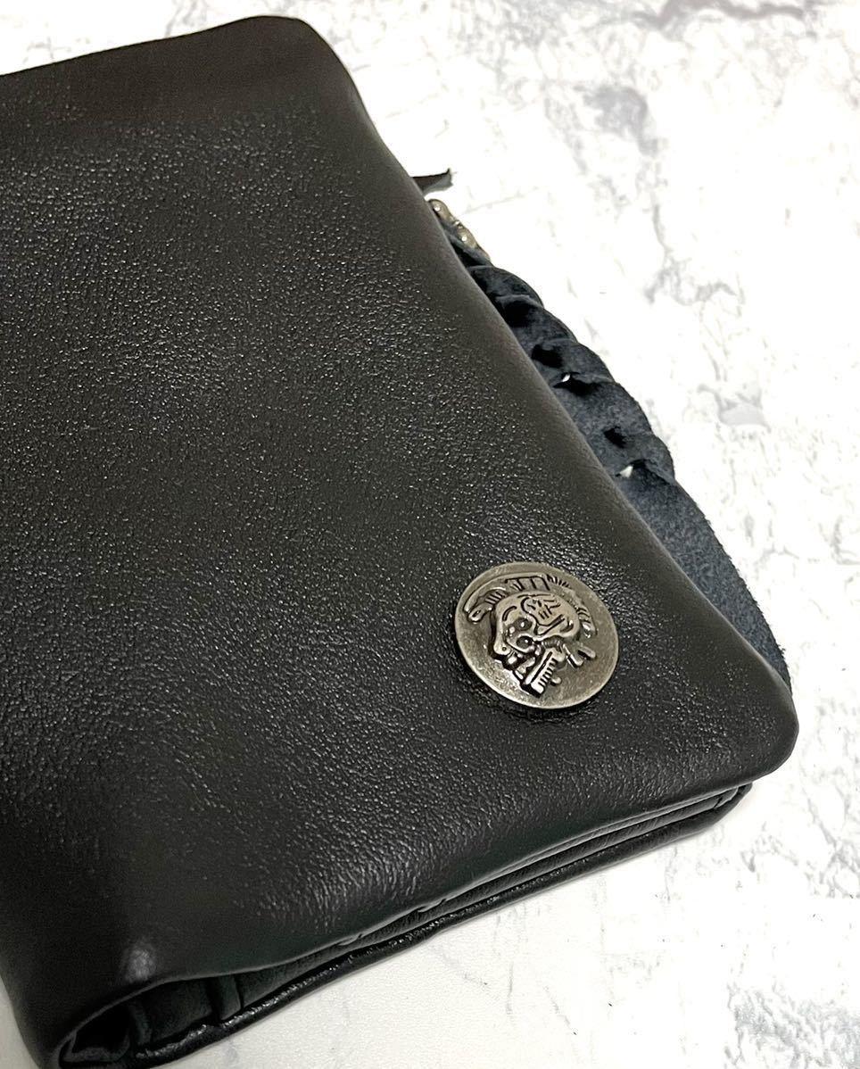 ミドル 財布 メンズ 二つ折り財布 本革 牛革 クロムレザー バイカー 新品 バイク 送料無料 一円 1円 黒 ブラック