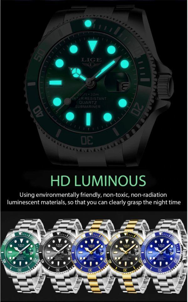 ☆LIGE トップブランドの高級ファッションダイバー腕時計男性 30ATM 防水日付時計スポーツ腕時計メンズクォーツ腕時計レロジオ Masculino☆_画像4