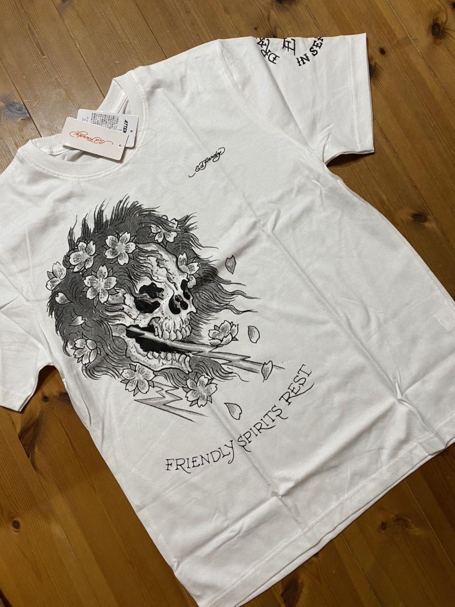 ★ ED HARDY エドハーディー 半袖プリントTシャツ 白 L 新品 0748 ドクロ メンズ 新品_画像1