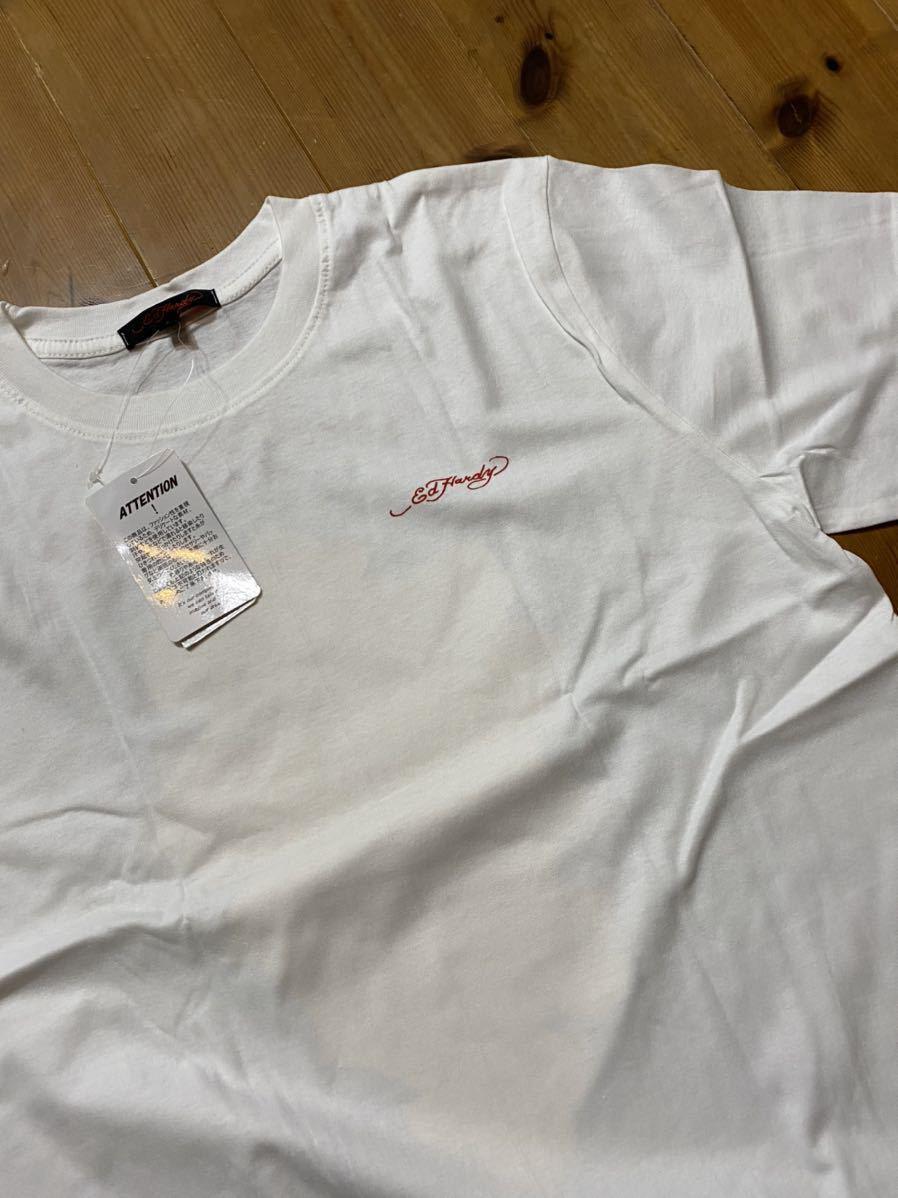★ ED HARDY エドハーディー 半袖プリントTシャツ 白 L 新品 0748 クロス 新品 メンズ_画像2