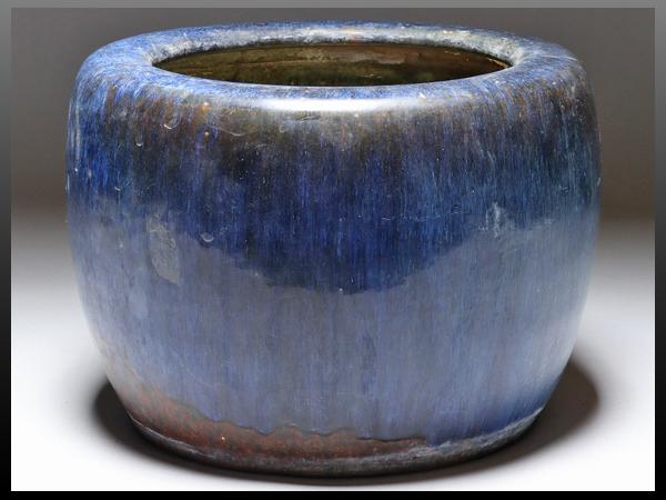 【静岡】089W 信楽焼 ナマコ釉 手焙り 火鉢 幅30㎝ ia