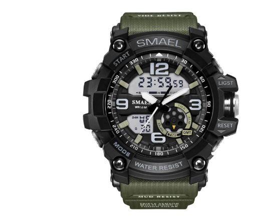 送料無料 SMAEL スマイル腕時計 メンズ ウォッチ 防水 スポーツ アナログ デジタル クオーツ 多機能 ミリタリー ライト 運動_画像1