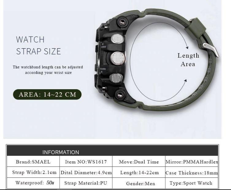 送料無料 SMAEL スマイル腕時計 メンズ ウォッチ 防水 スポーツ アナログ デジタル クオーツ 多機能 ミリタリー ライト 運動_画像8