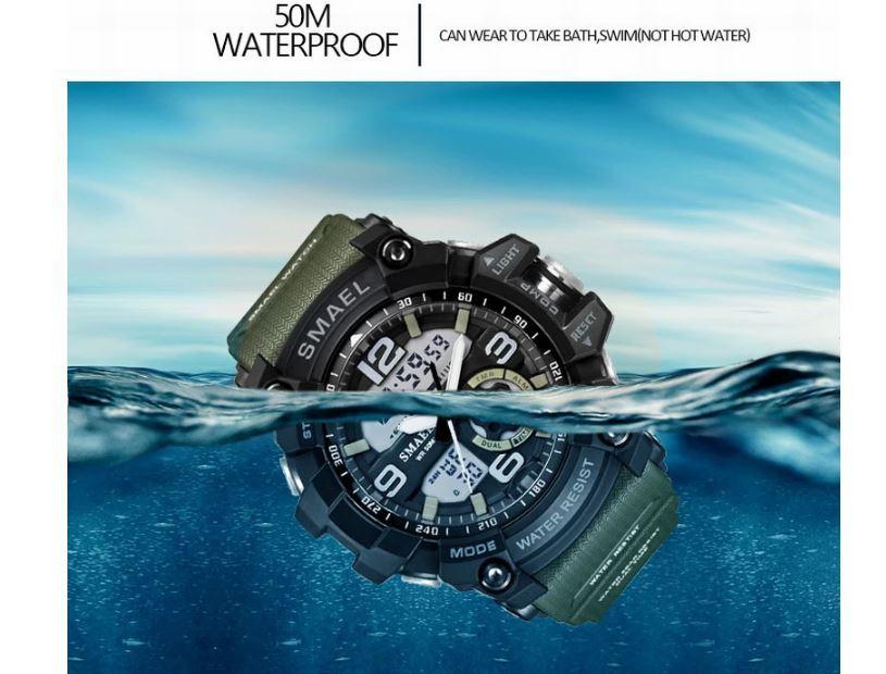 送料無料 SMAEL スマイル腕時計 メンズ ウォッチ 防水 スポーツ アナログ デジタル クオーツ 多機能 ミリタリー ライト 運動_画像10