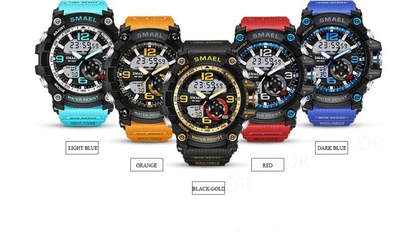送料無料 SMAEL スマイル腕時計 メンズ ウォッチ 防水 スポーツ アナログ デジタル クオーツ 多機能 ミリタリー ライト 運動_画像6