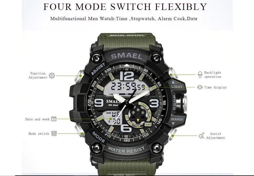 送料無料 SMAEL スマイル腕時計 メンズ ウォッチ 防水 スポーツ アナログ デジタル クオーツ 多機能 ミリタリー ライト 運動_画像9