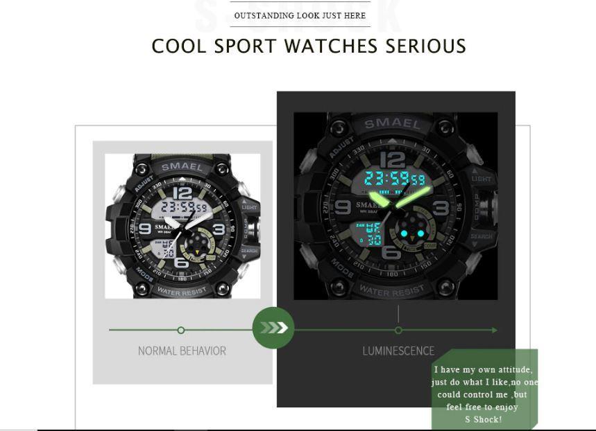 送料無料 SMAEL スマイル腕時計 メンズ ウォッチ 防水 スポーツ アナログ デジタル クオーツ 多機能 ミリタリー ライト 運動_画像7