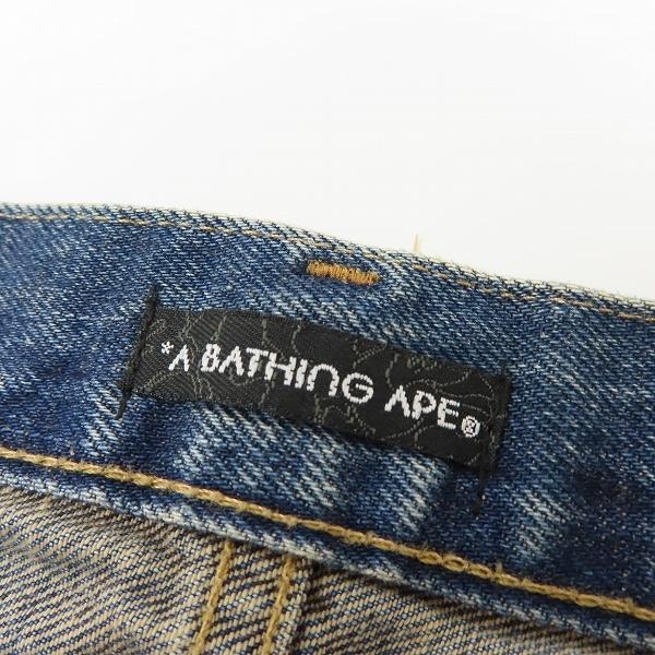 A BATHING APE/アベイシングエイプ サルプリント デニムパンツ/ジーンズ/L /080_画像4
