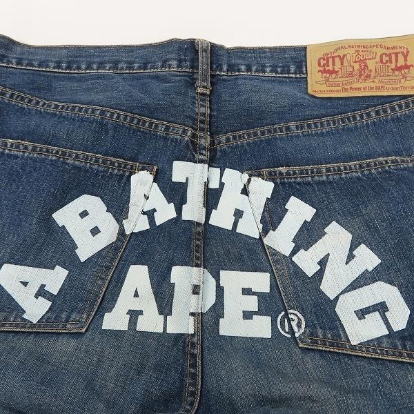 A BATHING APE/アベイシングエイプ BAPE バックプリント デニムパンツ/ジーンズ/L /080_画像8