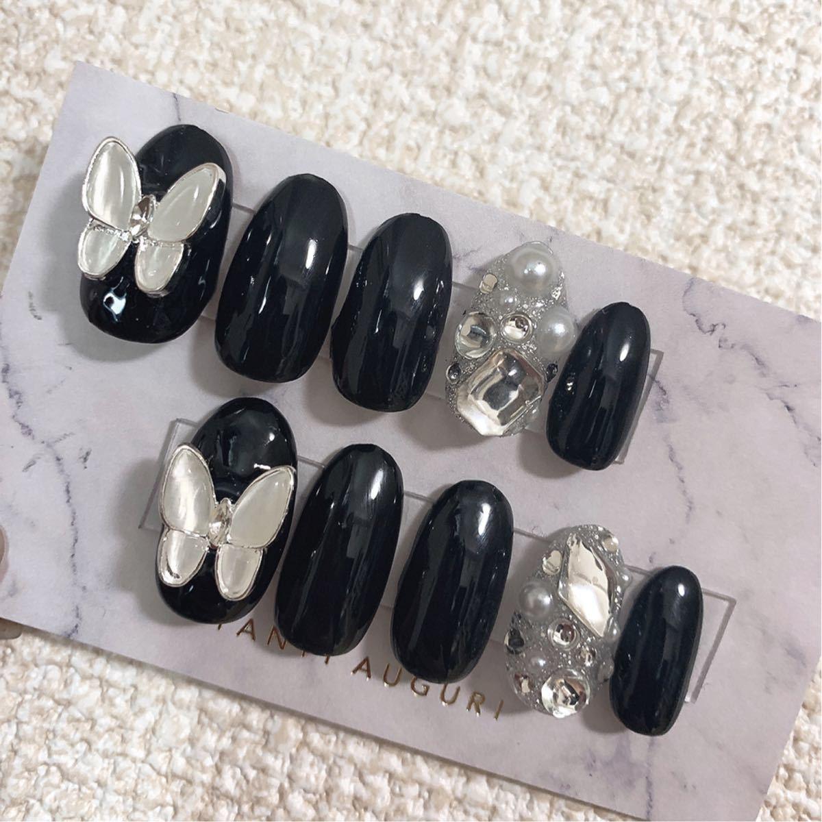 ネイルチップ 蝶々 韓国 ブラック シンプル ビジュー No,116